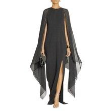 Schwarz Arabischen Türkei Abendkleider 2017 Feifei Ärmel Split Side Bodenlangen Besondere Anlässe Prom Kleider Plus Größe 12131519