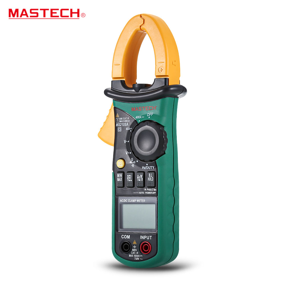 Hot MASTECH MS2108A Auto Range Digital Clamp Multimeter 4000 Counts DC/AC Voltmeter Ammeter Current Resistance Tester multimetro mastech ms2138 ac dc digital clamp meter 1000a multimeter electrical current 4000 counts voltage tester
