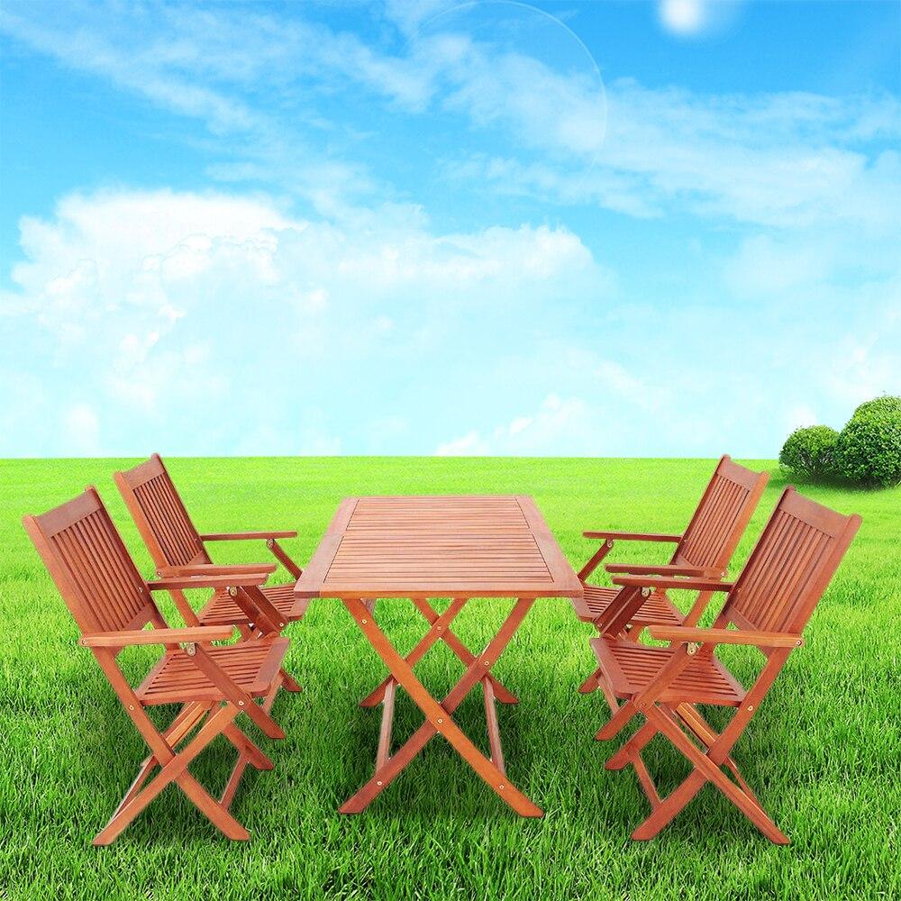 Sydney jardín Set 1 mesa 4 silla al aire libre eco madera de acacia ...