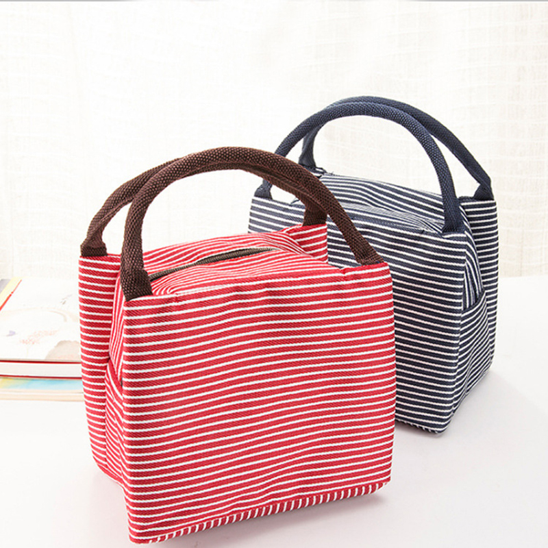 Portable New Stripe Canvas Insulated Lunch Bag Women Thermal Travel Picnic Food Lunch box bag for Girls Kids