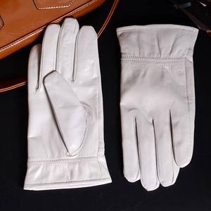 Image 4 - الرجال جلد طبيعي جلد حقيقي الشتاء الدافئة الأبيض قصيرة قفازات