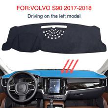 Mata na deskę rozdzielczą Dashmat dla VOLVO S90 2017-2018 akcesoria antypoślizgowa deska rozdzielcza Pad czarny dywan deska rozdzielcza samochodu izolacja przeciwsłoneczna tanie tanio smabee NYLON man-made fibers Black sunscreen dashboard