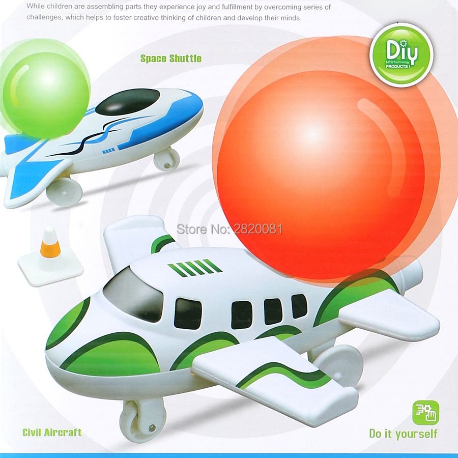 Little Treasures Cosmic Balloon Powered Jet Airplane Educational Learning Kit