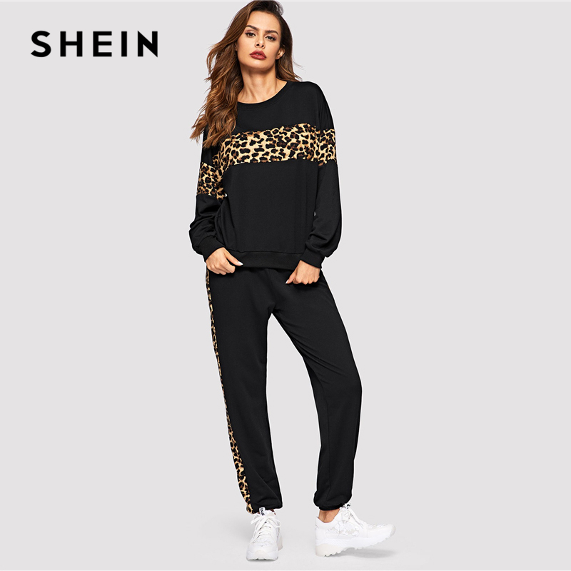 Image 4 - SHEIN Black Leopard Panel Pullover Women O neck Athleisure 