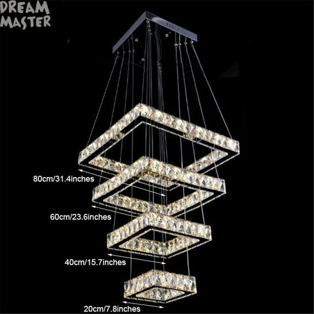 Online Shop New Modern Square Chandelier Long Rectangle - Long chandelier crystals