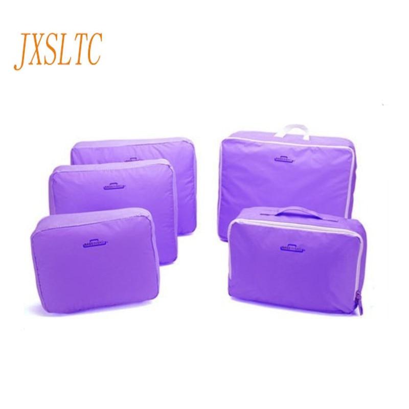 JXSLTC 5PCS/Set High Quality Oxford Cloth Travel Mesh Bag Luggage Organizer Packing Cube Organiser Travel Bags