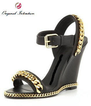 Original Intention Popular Women Sandals Nice Chains Wedges Sandals Black Shoes Woman Plus EU Size 34-46 keyconcept france original feiyue shoes classical kungfu shoes taiji shoes popular