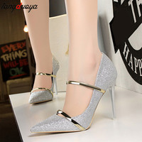ladies shoes pointed toe high heels shoes for women pumps high heel stiletto pumps shoes wedding bride gold sapatos mulher
