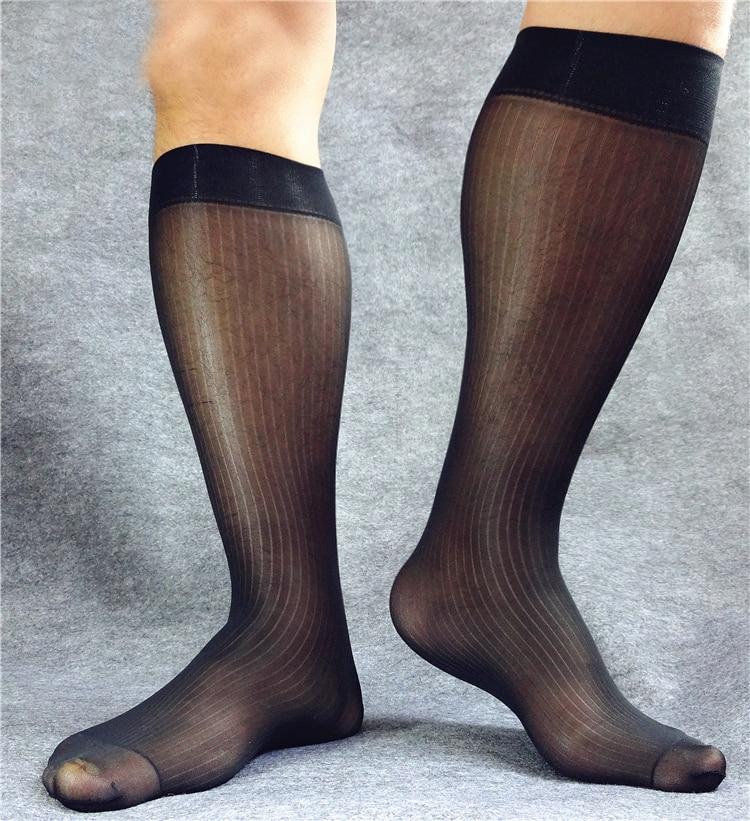 New arrival Mens Sheer Knee-high Socks Formal Gentlemen Leather Shoes Male Dress suit Socks Hose Stocking Black Blue Navy White