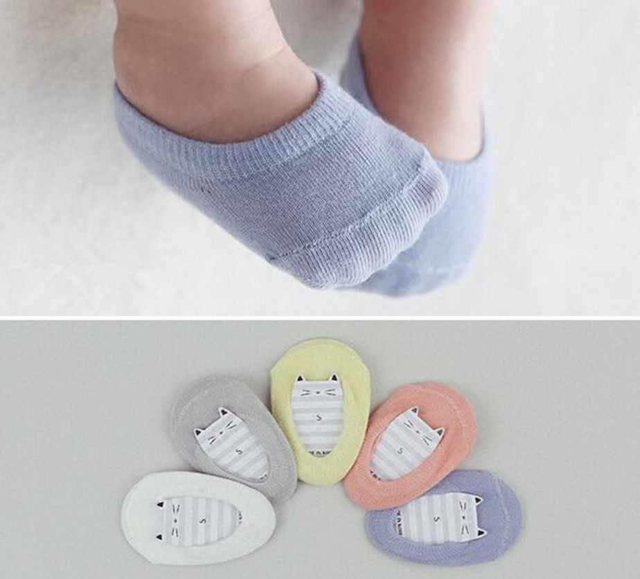 Candy Color Sweet Baby Girls Boys Anti-slip Socks Solid Summer Unisex Cotton Ankle Socks Soft Soled