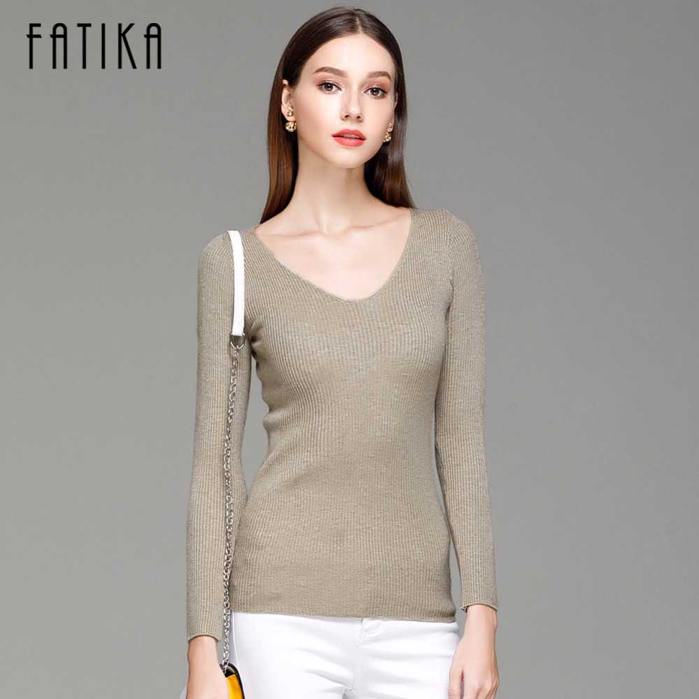FATIKA Womens Autumn Winter Cotton Blend Sweater V-Neck Pullovers Long Sleeve Jumpers Womens Knitted Sweaters