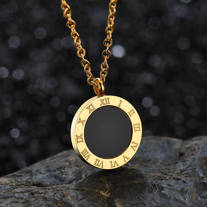 Elsemode moda luxo ouro numerais romanos colar longo pingente para mulher menina alta polonês 316 l jóias de aço inoxidável