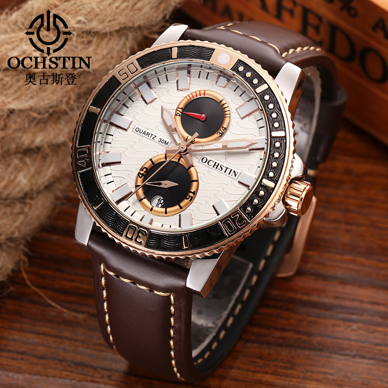 Luxury Brand OCHSTIN Chronograph Casual Watch Men Fashion Quartz Military Waterproof Sport Watch Genuine Leather Mens