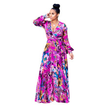 JRRY Casual Deep V Neck Print Women Maxi Dresses Long Sleeve Sashes Long Party Dress Vestidos
