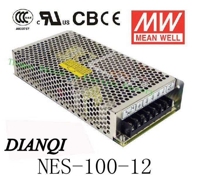 Original MEAN WELL power suply unit ac to dc power supply NES-100-12 100W 12V 8.5A MEANWELL meanwell 12v 75w ul certificated nes series switching power supply 85 264v ac to 12v dc