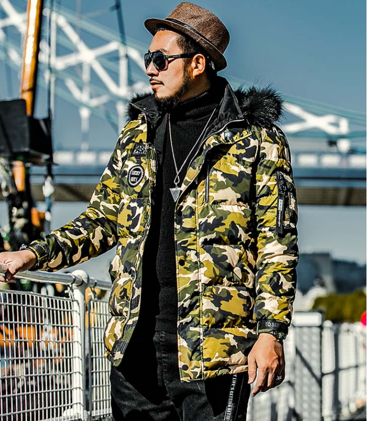 2018 men's winter duck   down     coat   with real raccoon fur hood male's warm parkas jacket camouflage printed plus xxxxxl 3xl 4xl 5xl