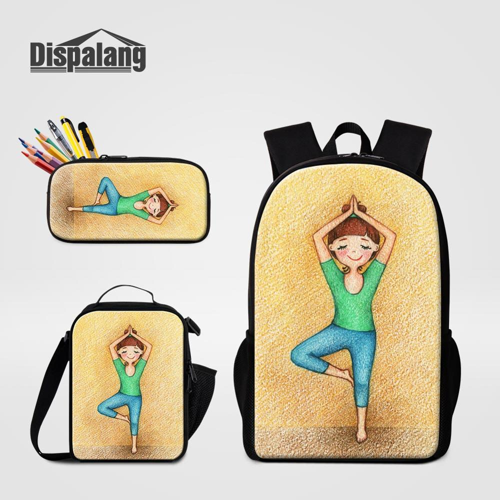 Cartoon Lunchbag for Girls Female Backpack 3pcs/set Children Primary Schoolbag Pencil Case Yoga Girl 3D Printing 16 inch Bagpack(China)