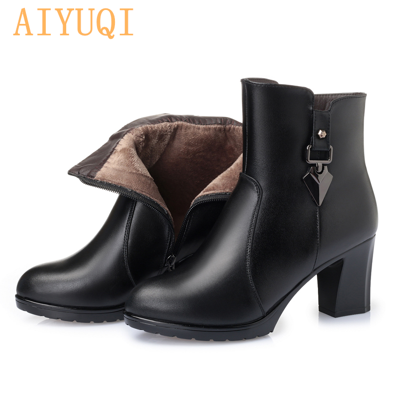 AIYUQI Women martin boots 2019 new platform heels leather boots ankle thick warm wool fashion dress