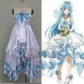 Yuuki Asuna Cosplay Espada de Arte En Línea SAO ALO Ondina Anime Blanco y Azul Vestido de Traje