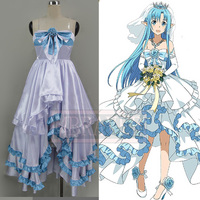 Yuuki Asuna Cosplay Sword Art Online ALO SAO Undine Anime White and Blue Costume Dress