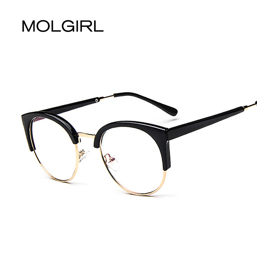 MOLGIRL Retro Round Transparent Glasses Frames Women Mens Cat Eye ...