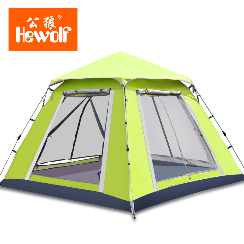 Hewolf Double Layer awning beach tent sun shelter outdoor tent UV protect mat-awning gazebo shelter camping tent octagonal outdoor camping tent large space family tent 5 8 persons waterproof awning shelter beach party tent double door tents