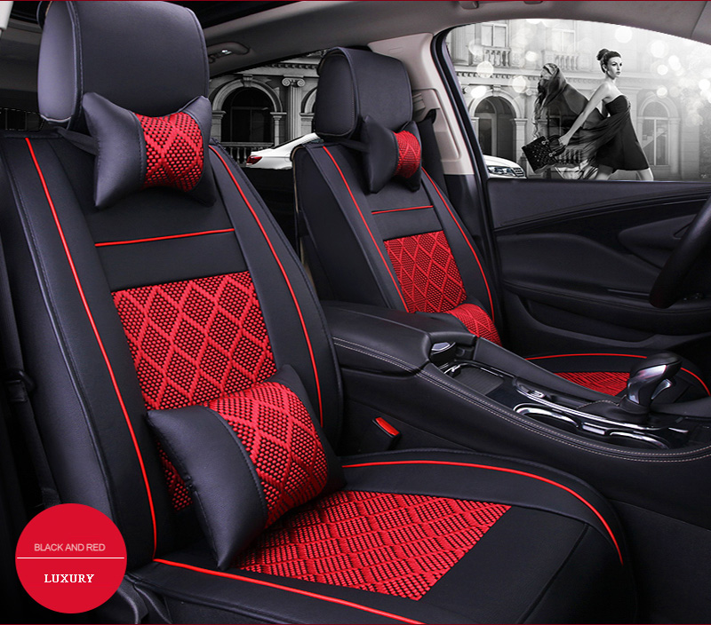 Universal wearproof PU Leather + ice silk car seat covers front rear cushion for KIA Rio Cerato auto accessories car styling 2 pair universal car 3d style disc brake caliper covers front rear