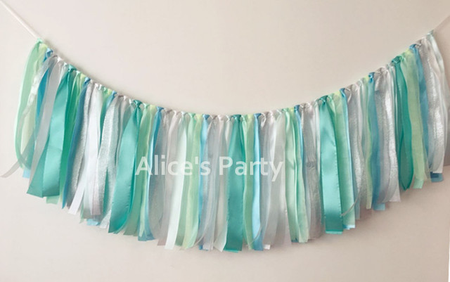 new tiffany blue ribbon wedding party banner tulle rag tied flag photography props baby shower decorations