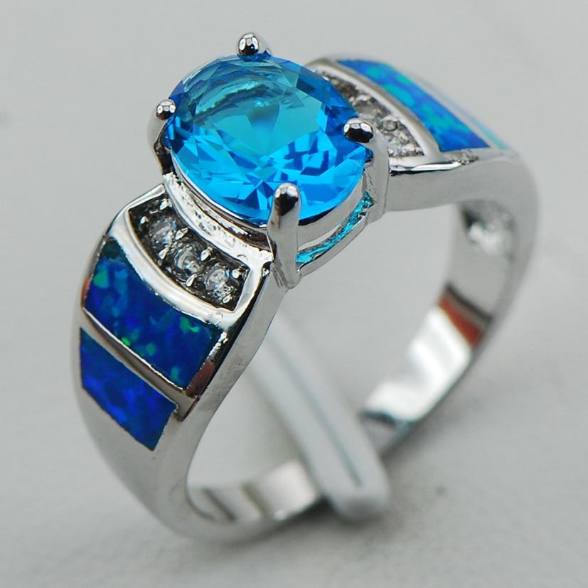 Blue Crystal Zircon Blue Opal 925 Sterling Silver Ring Velikost 6 7 8 9 10 R1250