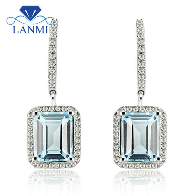 Lanmi Solid 14k White Gold Light Blue Topaz Diamond Wedding Earring For Women Anniversary Jewelry Gift