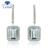 Lanmi SOLID 14 К белого золота светло голубой топаз Diamond свадебные серьги для Для женщин Юбилей украшения подарок