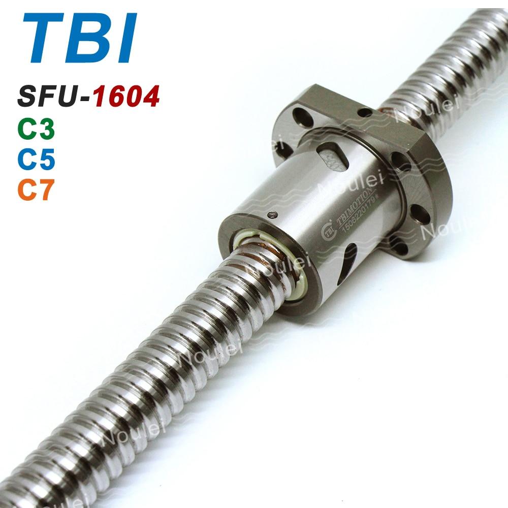 TBI 1604 C3 C5 C7 550mm Ball Screw 4mm Lead with SFU1604 Ballnut of SFU Set End Machined for High Precision CNC diy kit tbi 1605 c7 250mm ballscrew with sfu1605 ball nut of sfu rolled set end machined for high stability cnc diy kit