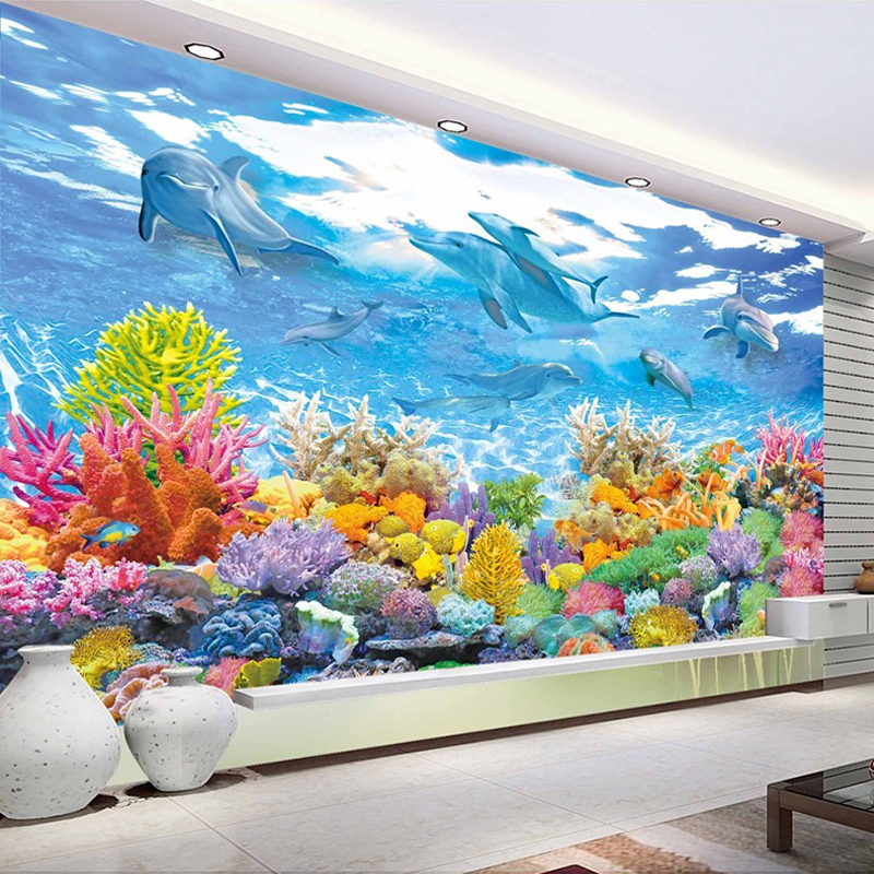 Kids Room Murals: Custom Photo Wall Paper 3D Underwater World Wall Painting