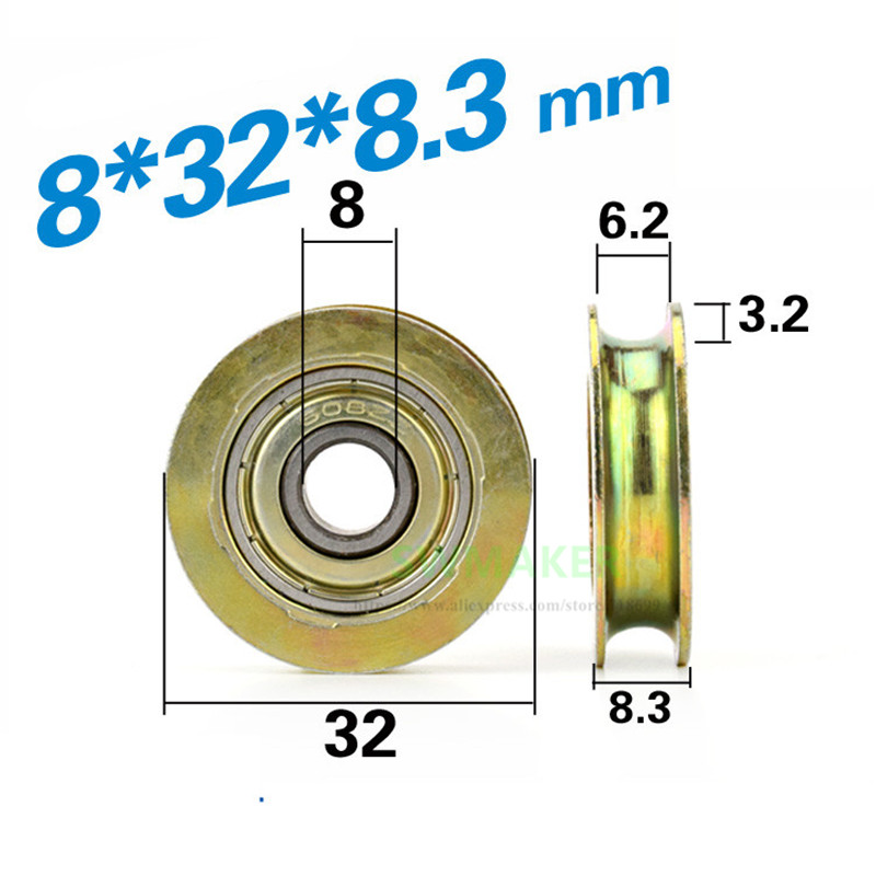 8*32*8.5mm groove, metal rust proof, U type, over wire rope guide ...