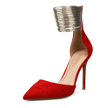 2019 Narrow Band Ankle Strap High Heels Women Sandals Summer Shoes Sexy Red Color Party Dress Big Size H0061