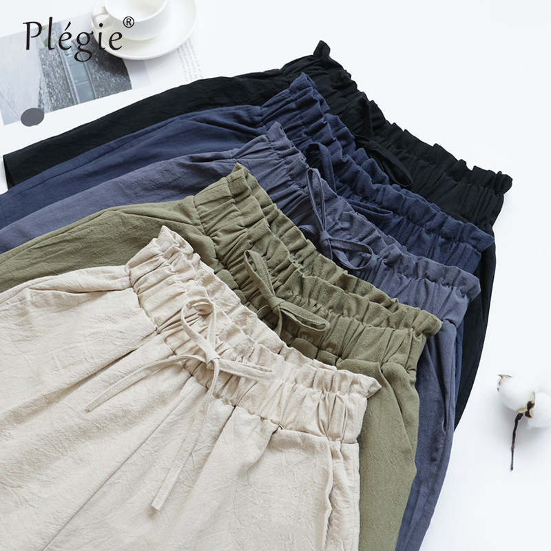 Plegie High Waist Summer   Shorts   Women Cotton Linen   Shorts   Trousers Feminino Elastic Wasit Home Loose Casual   Shorts   With Pocket