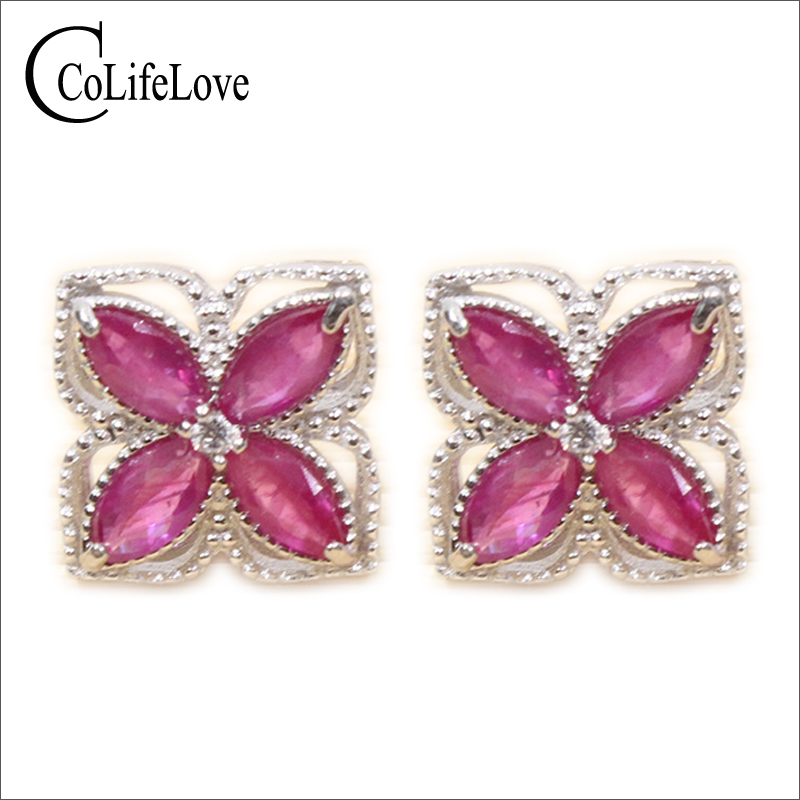 купить Beautiful natural ruby stud eaiings 8pcs 2*4mm ruby gemstone stud earrings solid 925 silver gemstone stud earrings for woman по цене 4351.16 рублей