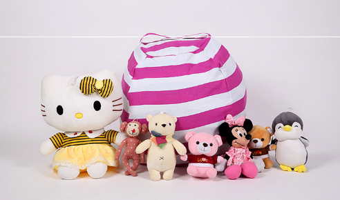 New Creative Modern Storage Stuffed Animal Storage Bean Bag Chair Portable Kids Clothes Toy Storage Bags