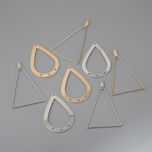Hole Earrings Pendant Silver Gold Water-Drop Long Triangle Metal Charms Earring Findings for DIY Jewelry Making Accessories