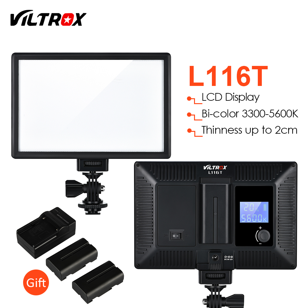 Viltrox L116T Slim LCD Display Bi-Color Dimmable DSLR Video LED Light +2 Batteries +Charger for Canon Nikon Camera DV CamcorderViltrox L116T Slim LCD Display Bi-Color Dimmable DSLR Video LED Light +2 Batteries +Charger for Canon Nikon Camera DV Camcorder