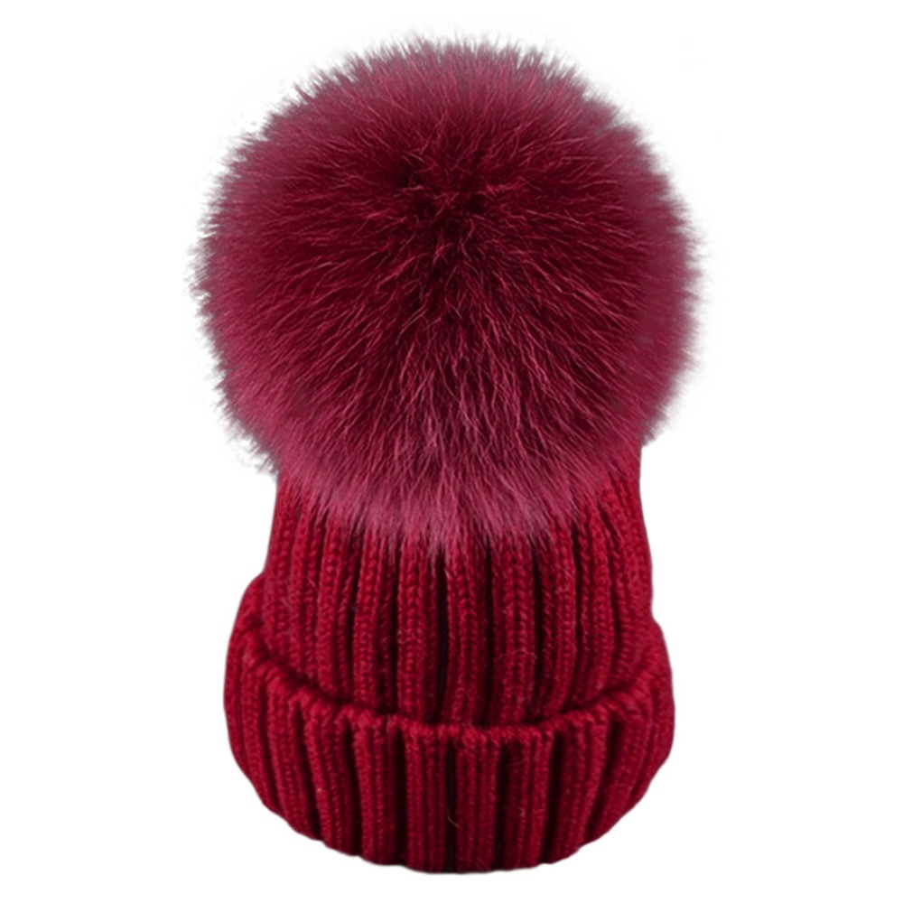 Winter Baby Boys Girls Fur Pompom Hats Wool Knitted Caps For Kids Baby Skullies & Beanies Knit Cap hat Bonnet Accessory F25 autumn winter beanie fur hat knitted wool cap with raccoon fur pompom skullies caps ladies knit winter hats for women beanies page 5