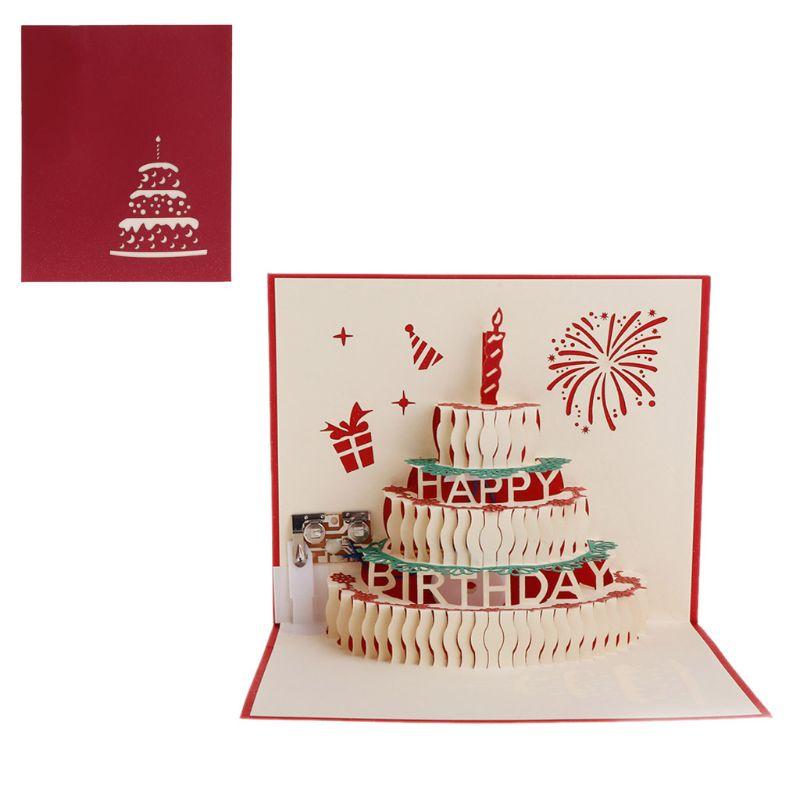 3D Pop Up tarjeta de felicitación Feliz cumpleaños pastel música LED postal con sobre Juego de cinco piezas redondas para hornear, molde para pasteles y galletas, combinación de acero inoxidable para hornear, herramientas de decoración de pasteles Diy