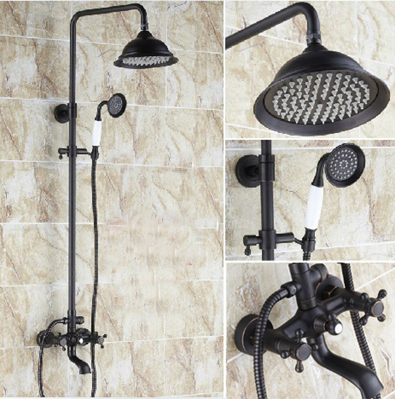 Classical Oil Rubbed Bronze 8 Rain Shower Faucet Column Mixer Tap Set with Handheld Shower