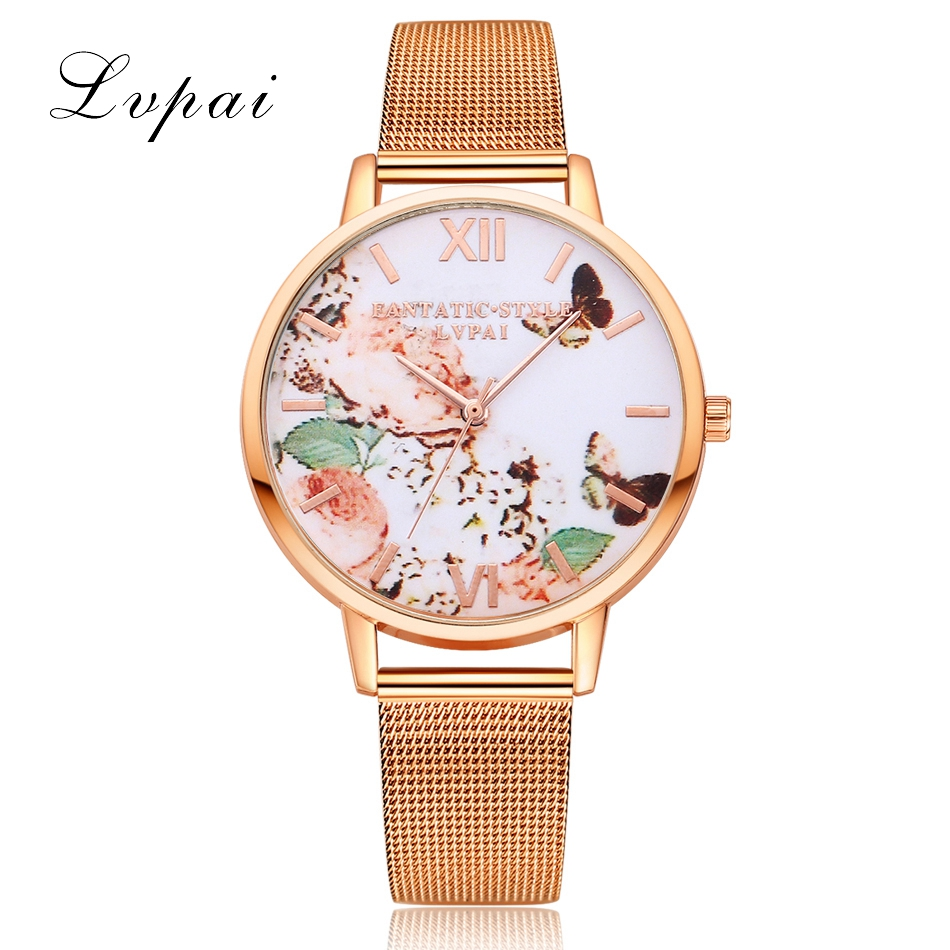 Fashion Casual Rose Gold Sport Watch Women Quartz Watch Lvpai Brand Luxury Bracelet Watches Alloy Dress Ladies Female Wristwatch tshing ray fashion women rose gold mirror cat eye sunglasses ladies twin beams brand designer cateye sun glasses for female male