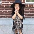 INS Novo 2017 Crianças Roupas de Verão Do Bebê Meninas Vestido de Algodão de Moda Preto Borla Roupas de design Crianças Roupas de Marca Meninas