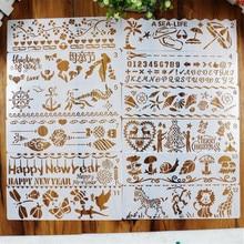 12 шт./компл. полые трафареты для рисования стен набор для скрапбукинга штемпель для тиснения альбома тисненая картонная открытка для рисования