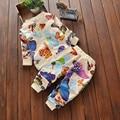 2016 Nueva Moda Otoño Sistemas Del Bebé de los Bebés de Colores Mariposa Niños Traje de Ropa Deportiva Ropa de Manga Larga Establece Tops + pantalones V49
