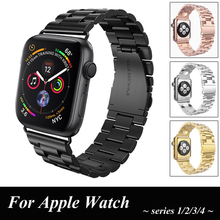44MM 40MM stainless steel strap for apple watch band correa 42MM 38MM link Bracelet iwatch band series 4 3 2 1 watch Accessories business style stainless steel watch band strap for apple watch band 40mm 44mm 38mm 42mm iwatch series 1 2 3 4 link wrist band