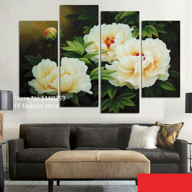 full square 5d diy diamond embroidery peony painting 4pcs diamond painting Cross Stitch Rhinestone mosaic pattern