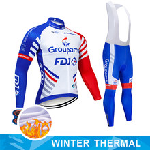 NEW FDJ Pro Winter Thermal Fleece sets Long Cycling Jersey 9D Gel PadMens MTB Ropa Ciclismo Bike Bicycling Maillot Clothes